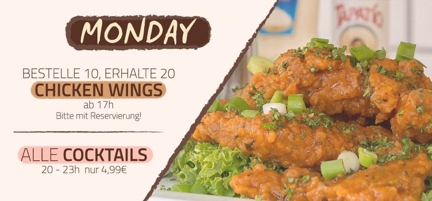 MONDAY - WINGS DAY / HAPPY HOUR
