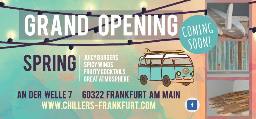 CHILLERS FRANKFURT - NOW OPEN
